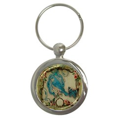 Victorian Girly Blue Bird Vintage Damask Floral Paris Eiffel Tower Key Chain (round) by chicelegantboutique