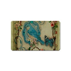 Victorian Girly Blue Bird Vintage Damask Floral Paris Eiffel Tower Magnet (name Card)