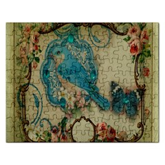 Victorian Girly Blue Bird Vintage Damask Floral Paris Eiffel Tower Jigsaw Puzzle (rectangle) by chicelegantboutique