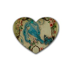 Victorian Girly Blue Bird Vintage Damask Floral Paris Eiffel Tower Drink Coasters (heart) by chicelegantboutique