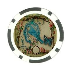 Victorian Girly Blue Bird Vintage Damask Floral Paris Eiffel Tower Poker Chip by chicelegantboutique