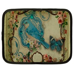 Victorian Girly Blue Bird Vintage Damask Floral Paris Eiffel Tower Netbook Case (large) by chicelegantboutique