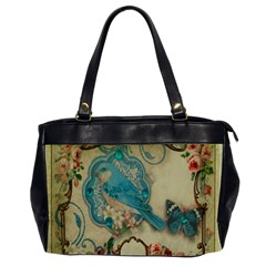 Victorian Girly Blue Bird Vintage Damask Floral Paris Eiffel Tower Oversize Office Handbag (two Sides) by chicelegantboutique