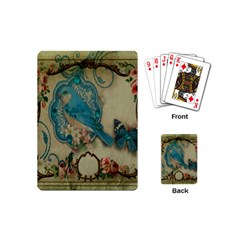 Victorian Girly Blue Bird Vintage Damask Floral Paris Eiffel Tower Playing Cards (mini) by chicelegantboutique