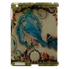 Victorian Girly Blue Bird Vintage Damask Floral Paris Eiffel Tower Apple Ipad 3/4 Hardshell Case (compatible With Smart Cover) by chicelegantboutique
