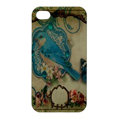 Victorian Girly Blue Bird Vintage Damask Floral Paris Eiffel Tower Apple Iphone 4/4s Premium Hardshell Case by chicelegantboutique