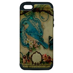 Victorian Girly Blue Bird Vintage Damask Floral Paris Eiffel Tower Apple Iphone 5 Hardshell Case (pc+silicone) by chicelegantboutique