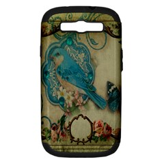 Victorian Girly Blue Bird Vintage Damask Floral Paris Eiffel Tower Samsung Galaxy S III Hardshell Case (PC+Silicone) by chicelegantboutique
