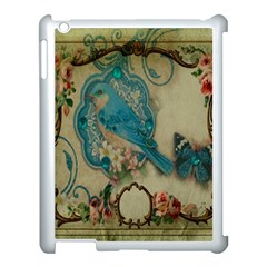 Victorian Girly Blue Bird Vintage Damask Floral Paris Eiffel Tower Apple Ipad 3/4 Case (white)