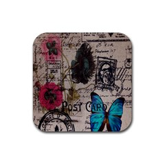Floral Scripts Blue Butterfly Eiffel Tower Vintage Paris Fashion Drink Coaster (Square) by chicelegantboutique