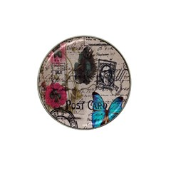 Floral Scripts Blue Butterfly Eiffel Tower Vintage Paris Fashion Golf Ball Marker 4 Pack (for Hat Clip) by chicelegantboutique