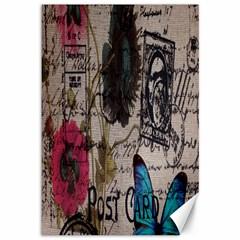 Floral Scripts Blue Butterfly Eiffel Tower Vintage Paris Fashion Canvas 12  X 18  (unframed) by chicelegantboutique