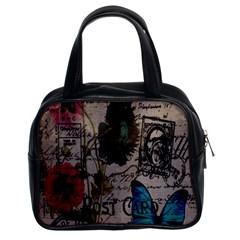 Floral Scripts Blue Butterfly Eiffel Tower Vintage Paris Fashion Classic Handbag (two Sides) by chicelegantboutique