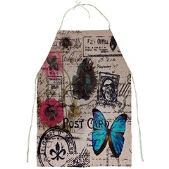 Floral Scripts Blue Butterfly Eiffel Tower Vintage Paris Fashion Apron by chicelegantboutique