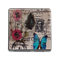 Floral Scripts Blue Butterfly Eiffel Tower Vintage Paris Fashion Memory Card Reader With Storage (square) by chicelegantboutique