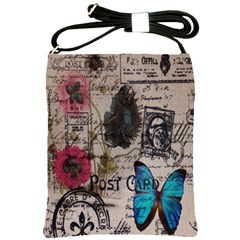Floral Scripts Blue Butterfly Eiffel Tower Vintage Paris Fashion Shoulder Sling Bag by chicelegantboutique