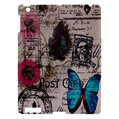 Floral Scripts Blue Butterfly Eiffel Tower Vintage Paris Fashion Apple Ipad 3/4 Hardshell Case by chicelegantboutique