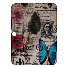 Floral Scripts Blue Butterfly Eiffel Tower Vintage Paris Fashion Samsung Galaxy Tab 3 (10 1 ) P5200 Hardshell Case