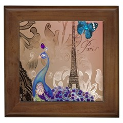 Modern Butterfly  Floral Paris Eiffel Tower Decor Framed Ceramic Tile by chicelegantboutique