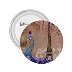 Modern Butterfly  Floral Paris Eiffel Tower Decor 2 25  Button by chicelegantboutique