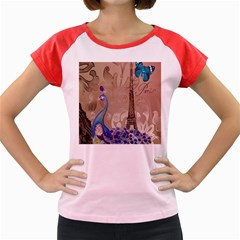 Modern Butterfly  Floral Paris Eiffel Tower Decor Women s Cap Sleeve T Shirt (colored) by chicelegantboutique