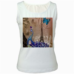 Modern Butterfly  Floral Paris Eiffel Tower Decor Womens  Tank Top (white) by chicelegantboutique