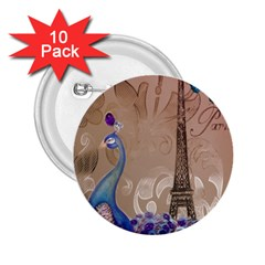 Modern Butterfly  Floral Paris Eiffel Tower Decor 2 25  Button (10 Pack) by chicelegantboutique