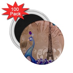 Modern Butterfly  Floral Paris Eiffel Tower Decor 2 25  Button Magnet (100 Pack) by chicelegantboutique