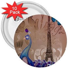 Modern Butterfly  Floral Paris Eiffel Tower Decor 3  Button (10 Pack) by chicelegantboutique
