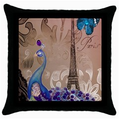 Modern Butterfly  Floral Paris Eiffel Tower Decor Black Throw Pillow Case by chicelegantboutique