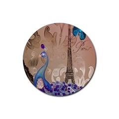 Modern Butterfly  Floral Paris Eiffel Tower Decor Drink Coaster (round) by chicelegantboutique