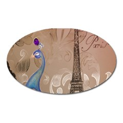Modern Butterfly  Floral Paris Eiffel Tower Decor Magnet (oval) by chicelegantboutique