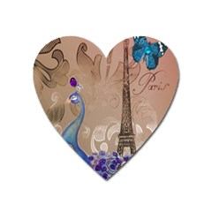Modern Butterfly  Floral Paris Eiffel Tower Decor Magnet (heart) by chicelegantboutique