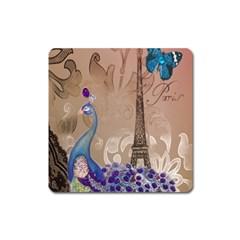 Modern Butterfly  Floral Paris Eiffel Tower Decor Magnet (square) by chicelegantboutique