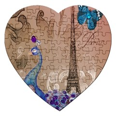 Modern Butterfly  Floral Paris Eiffel Tower Decor Jigsaw Puzzle (heart) by chicelegantboutique