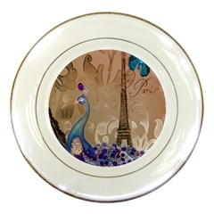 Modern Butterfly  Floral Paris Eiffel Tower Decor Porcelain Display Plate by chicelegantboutique
