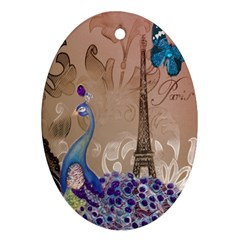 Modern Butterfly  Floral Paris Eiffel Tower Decor Oval Ornament (two Sides) by chicelegantboutique