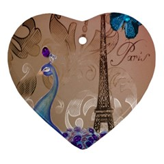 Modern Butterfly  Floral Paris Eiffel Tower Decor Heart Ornament (two Sides)