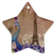 Modern Butterfly  Floral Paris Eiffel Tower Decor Star Ornament (two Sides) by chicelegantboutique