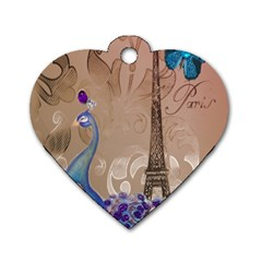 Modern Butterfly  Floral Paris Eiffel Tower Decor Dog Tag Heart (one Sided)  by chicelegantboutique