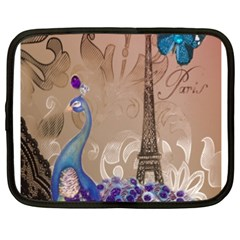 Modern Butterfly  Floral Paris Eiffel Tower Decor Netbook Case (xxl) by chicelegantboutique