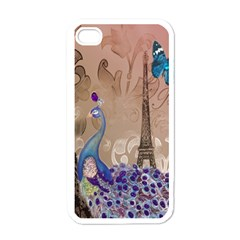 Modern Butterfly  Floral Paris Eiffel Tower Decor Apple Iphone 4 Case (white) by chicelegantboutique