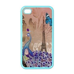 Modern Butterfly  Floral Paris Eiffel Tower Decor Apple Iphone 4 Case (color) by chicelegantboutique