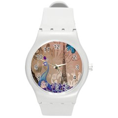 Modern Butterfly  Floral Paris Eiffel Tower Decor Plastic Sport Watch (medium) by chicelegantboutique