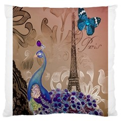 Modern Butterfly  Floral Paris Eiffel Tower Decor Large Cushion Case (two Sided)  by chicelegantboutique