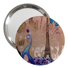 Modern Butterfly  Floral Paris Eiffel Tower Decor 3  Handbag Mirror by chicelegantboutique