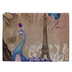 Modern Butterfly  Floral Paris Eiffel Tower Decor Cosmetic Bag (xxl) by chicelegantboutique