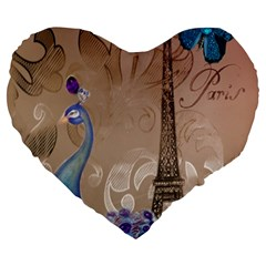 Modern Butterfly  Floral Paris Eiffel Tower Decor 19  Premium Heart Shape Cushion by chicelegantboutique