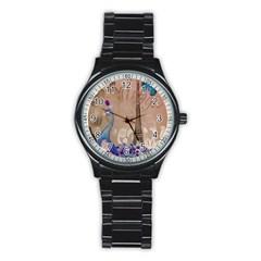 Modern Butterfly  Floral Paris Eiffel Tower Decor Sport Metal Watch (black)