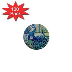 French Scripts Vintage Peacock Floral Paris Decor 1  Mini Button Magnet (100 Pack) by chicelegantboutique